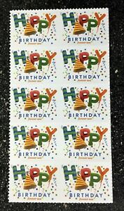 2021USA Forever Happy Birthday - Block of 10 From Sheet  mint postage