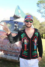 S Small UGLY VTG Christmas Sweater Party Knit Cardigan Victoria Jones Men Womens