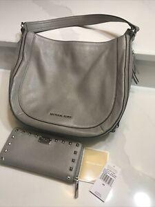 Michael Kors Saddle Bag Purse Grey Tassel/Fringe Side Pockets w/Matching Wallet