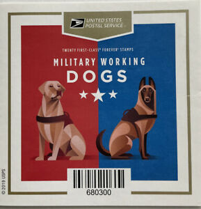 Scott #5405-5408 MILITARY WORKING DOGS Booklet of 20 US Forever Stamps MNH 2019