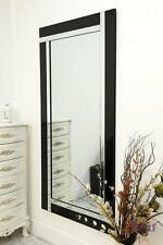 Black and Mirror Bevelled Modern Wall Mirror 5Ft9 X 2Ft9 174cm X 85cm