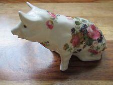 CROWN FINE BONE CHINA FLORAL PIG  {  PINK ENGLISH ROSES }