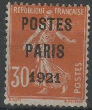 "FRANCE TIMBRE PREOBLITERE 29 "" SEMEUSE 30c POSTES PARIS 1921 "" NEUF x TB   M412"