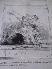 Caricature 1860 Au Bal Masqué Caroline s'est endormie Pierrot