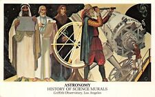 LOS ANGELES CA~GRIFFITH OBERVATORY~ASTRONOMY~HISTORY OF SCIENCE MURALS POSTCARD