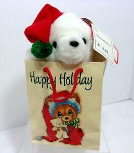 NWT VTG 1980s White Bear Plush Stuffed Animal Toy Happy Holiday Bear in a Bag