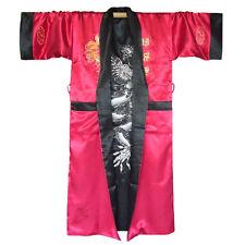 Japan Herren Satin Kimono Obi Samurai Yukata Morgenmantel Schwarz Rot M L XL