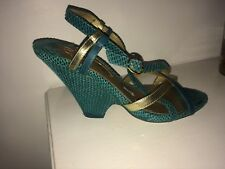 poetic licence Teal Leather And Gold Sandals Size 4