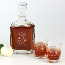 Wedding 700ml Decanter Gift Set - Decanter PLUS two Glasses All Custom Engraved