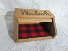Woolrich Oak Roll Top Table Top Display Valet Cabinet w/ Plaid Wool