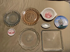 Estate Sale Remnents - 8 pieces some w chips glass ceramic plates ash trays tray