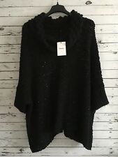 THEORY NWT $375 Women's Oversized Sweater Poncho Top with Glitters Black Size M