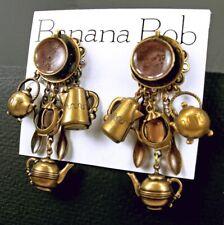 Rare BANANA BOB Vintage COFFEE TEAPOT Dangle CRYSTAL Rhinestone Pierced Earrings