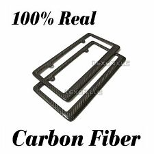 REAL 2PCS 100% CARBON FIBER LICENSE PLATE FRAME TAG COVER ORIGINAL 3K TWILL FF-2