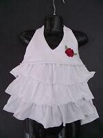 BNWT Girls Sz 2 Jelly Beans Brand Cute White Flower Emblem Halter Ruffled Top