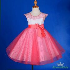 Polka Dot Tulle Coral Formal Occasion Dress Flower Girl Wedding Party Sz 2 FG243