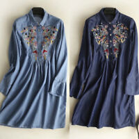 Womens Floral Embroidered Denim Tops Mini Dress Collared Shirt Blouse Plus Size