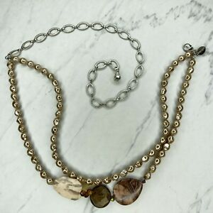 Chico's Silver Tone Faux Pearl Belly Body Chain Link Belt OS One Size