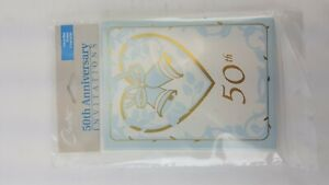 8 CARD PACK INVITATION 50TH GOLDEN ANNIVERSARY GREETING FIFTY