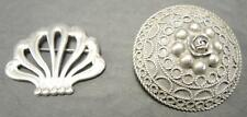 Two Antique Pins Brooches - 800 Silver and Sterling