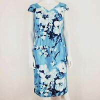 Jacques Vert Dress UK 12 Turquoise Blue Floral Pattern V Neck