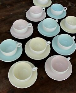 Pagnossin Espresso Cups and saucers 12 pair, Pastel Colors 24 Pieces Italy 1970s