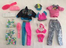 Barbie 1990's Neon Clothing & Accessories 15pc Lot Pink Bikini Earrings & More