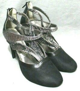 "ANDIAMO Women Casual/Dress 3.9"" High Heel Shoes Size 9 W Black/Gray Faux Leather"