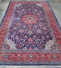 Persian Oriental Wool Rug Hand Knotted Blue and Red 7' x 11'