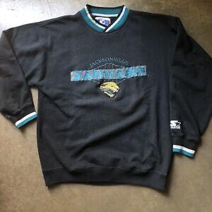 Men's Vintage 90's Starter Jacksonville Jaguars Black Teal Crewneck Sweatshirt L