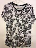 Isaac Mizrahi Live Black And White Flower Floral Top Size L