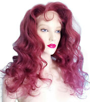 Full Lace Thin Skin PU Wig Human Hair Indian Remi Remy Long Bodywave Red #51