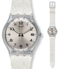 Swatch SILVERBLUSH Watch gm416c Analogue Silicone Silver, Transparent