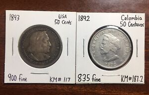 Lot Of 2 Coins: 1893 USA 50 Cents And 1892 Colombia 50 Centavos, 900, 835 Silver