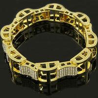 "Men's Gold Plated Dome Hollow Bracelet Iced Out Kodak Clear Cz Link Hip Hop 9"""