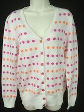 Spanner Golf white pink orange dots button cardigan sweater women M NWT