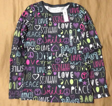 NWT Old Navy Girls Black Word Cloud Long Sleeve T-Shirt, Size Large (10-12)