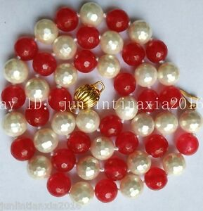 Natural New 8mm White Faceted Sea Shell Pearl&8mm Faceted Ruby Necklace 18''