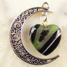 Tibetan Silver Hang Black Green Druzy Geode Agate Heart Pendant Bead Random send