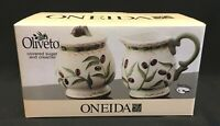 Oneida Oliveto Covered Sugar And Creamer Set Hand Painted Stoneware New IOB