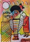ACEO ORIGINAL Painting~ABSTRACT CAT~BIRD FAMILY~FIGURATIVE~OUTSIDER NAIVE~SMOODY