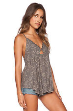 Free People Lost In Suspense Printed Chiffon Top Size M NEW