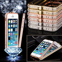 Metal Bling Diamond Crystal Frame Bumper Cover Case For Apple iPhone 5 5s 6 6s