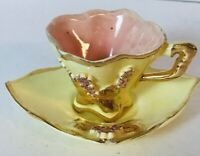 Vtg Gold Trim Small Yellow Pink Decorative Tea Cup 3D Midcentury Antique Unique