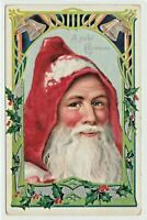 Rare~Full Face ~ SANTA CLAUS~with Holly~Antique Embossed Christmas Postcard-s594