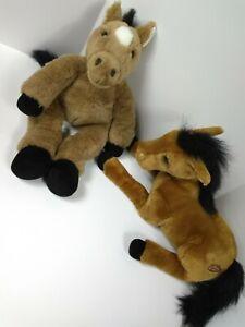 "Build A Bear 19"" + Lou Rankin 15"" Brittany 2Pc Brown Horses w/ Black Hoof plush"