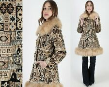 Vtg 70s Tapestry Coat Faux Shearling Fur Afghan Double Breasted Princess Jacket