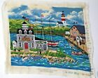 """Vintage Tapestry Beautiful Seaside Town Dimensions 1995 20.5"""" x 17"""" T08"""