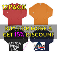 12 PACK AAA 1304 ALSTYLE MENS PLAIN LONG SLEEVE T SHIRT CASUAL COTTON TEE ACTIVE