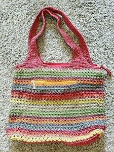 THE SAK Bag Woven Crochet Knit Hobo Tote RED Multi Color Stripe Purse Large